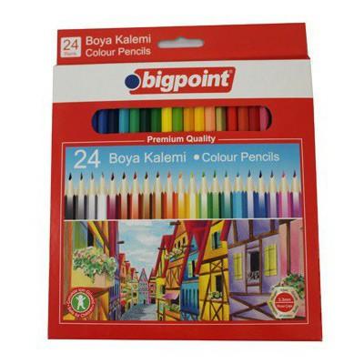 Bigpoint 24 Renk Boya Kalemi Tam Boy Resim Malzemeleri