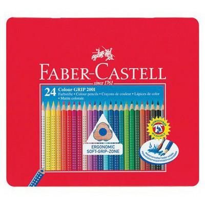 Faber Castell Grip 2001 Kuru Boya Kalemi 24'lü Metal Kutu Resim Malzemeleri