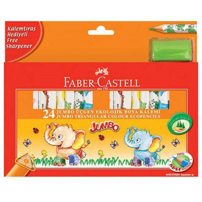 Faber Castell Jumbo Üçgen Ekolojik Boya Kalemi 24 Renk Resim Malzemeleri
