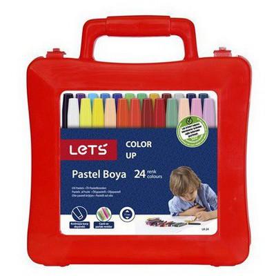 Lets Pastel Boya 24 Renk Plastik Çanta Resim Malzemeleri