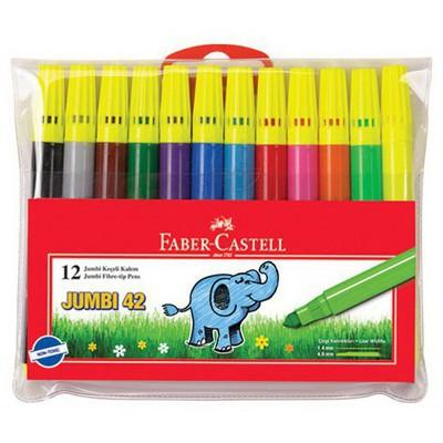 """Faber Castell Jumbi Neon Keçeli Kalem 12""""li Poşet Resim Malzemeleri"""