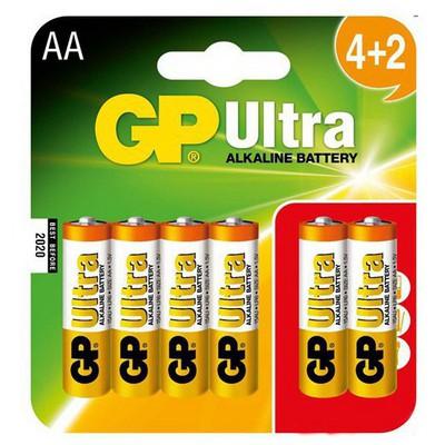 GP Ultra Alkalin Pil Aa Kalem (4+2) 6'lı Paket Gp15au4/2-gp6 Pil / Şarj Cihazı
