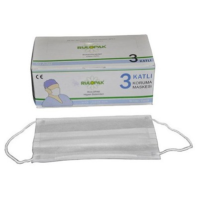 Rulopak R-4036 Elastik 3 Katlı Koruma Maskesi 50'li Paket Galoş / Bone Dispenseri