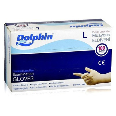Dolphin Pudralı Latex Mavi Muayene Eldiveni 100'lü Paket