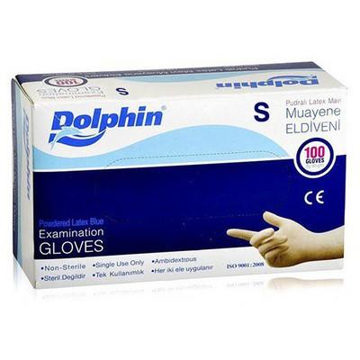 Dolphin Pudralı Latex Mavi Muayene Eldiveni 100'lü Paket Temizlik Eldivenleri