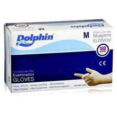 Dolphin Muayene Eldiveni Lateks Pudralı Mavi 100 Adet Temizlik Eldivenleri