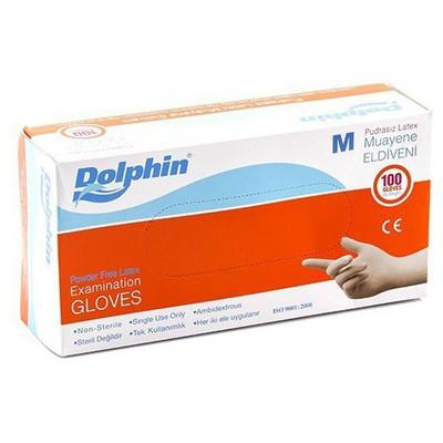 Dolphin Pudrasız Latex Muayene Eldiveni 100'lü Paket Temizlik Eldivenleri