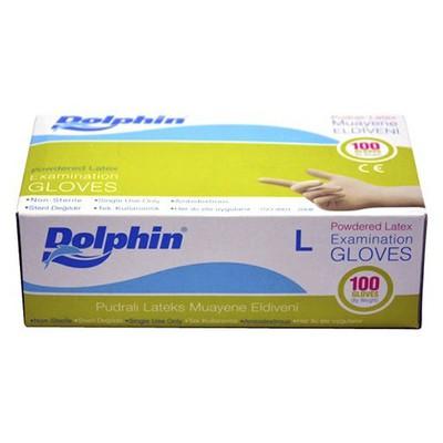 Dolphin Pudralı Latex Muayene Eldiveni 100'lü Paket