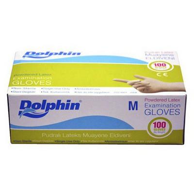 Dolphin Pudralı Latex Muayene Eldiveni 100'lü Paket Temizlik Eldivenleri