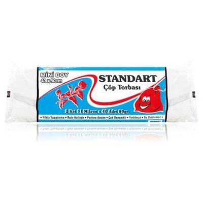 Kazanc Plastik Çöp Poşeti Standart Mini Boy 40 X 50 Cm Beyaz 40 Adet Çöp Torbaları