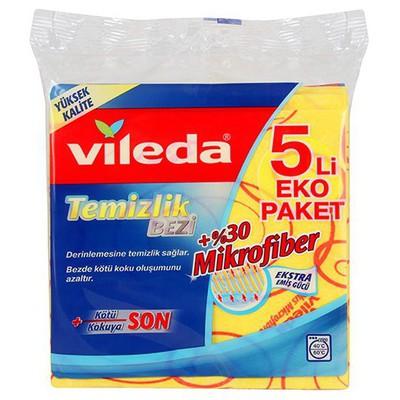 Vileda Temizlik Bezi %30 Mikrofiber 5'li Eko Paket Bez / Sünger