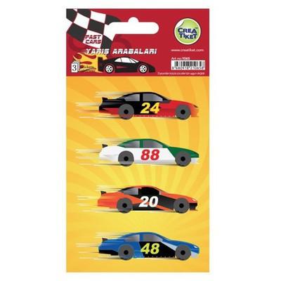 Crea Tiket Creatiket 1065 Yarış Arabaları Sticker Okul Etiketleri