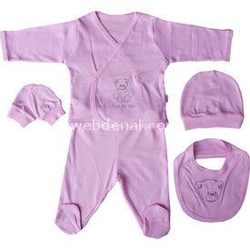 Baby Center 36067 Hastane Çıkış Seti 5li Pembe Kız Bebek Hastane Çıkışı