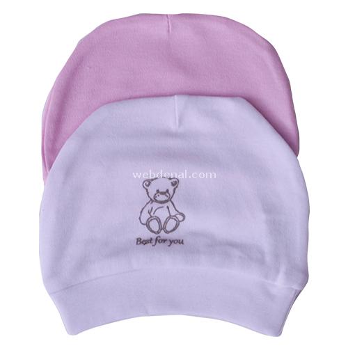 Baby Center 36777 2li Bebek Şapkası Beyaz-pembe Şapka, Bere, Kulaklık