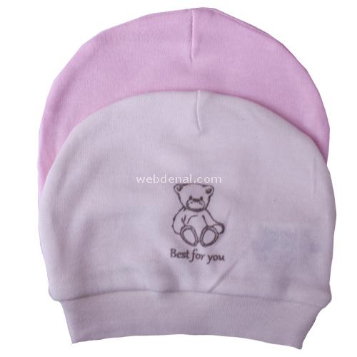 Baby Center 36777 2li Bebek Şapkası Ekru-pembe Şapka, Bere, Kulaklık