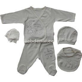 Baby Center 45212 Dantelli Tavşanlı Hastane Çıkış Seti 5li Ekru Kız Bebek Hastane Çıkışı