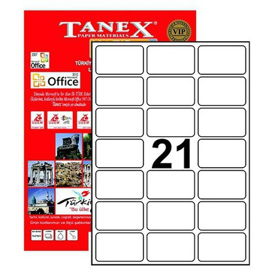 Tanex Yazıcı i 63.5x38.1 Mm 2100 Adet Model Tw-2021 Etiket