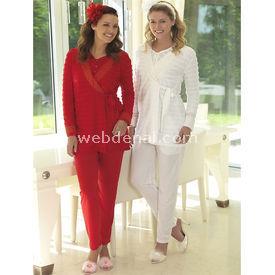 Artis Fantans Elif 3'lü Lohusa Pijama Takım Kırmızı S Gecelik & Pijama
