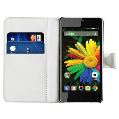 Microsonic Cüzdanlı Deri General Mobile Discovery Air Kılıf Beyaz Cep Telefonu Kılıfı
