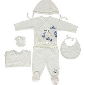 Bebetto Z336 Kelebek Bebek Penye Hastane Çıkışı 6lı Ekru-lacivert 0-3 Ay (56-62 Cm) Erkek Bebek Hastane Çıkışı