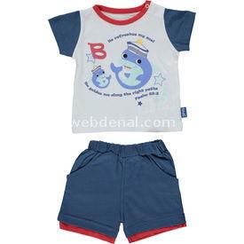 Bebetto K1038 Yunus Bebek Takımı 2li Indigo 0-3 Ay (56-62 Cm) Kız Bebek Takım