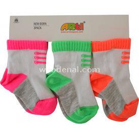 Artı Çorap Artı 400093 Papuç Neon 3lü Baby Soket Bebek Çorabı Asorti 0-6 Ay Kız Bebek Çamaşırı