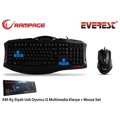 Everest Rampage KM-R5 Gaming Q Klavye ve Mouse Seti - Siyah