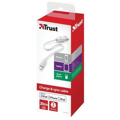 Trust 20358 Lightning Şarj Kablosu 20 Cm - Beyaz Güç Kablosu