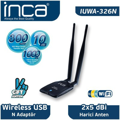 Inca Iuwa-326n Iuwa-326n 300 Mbps Mini Usb Wireless Adapter