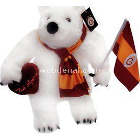 Galatasaray Bayraklı Ve Kalpli Kutup Ayısı Peluş Oyuncak Peluş Oyuncaklar