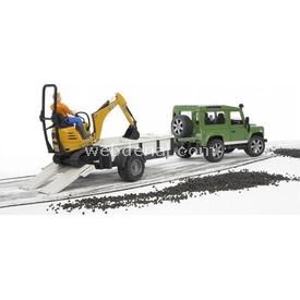 Bruder Land Rover Arazi Aracı Ve Jcb Mini Kazıcı Erkek Çocuk Oyuncakları