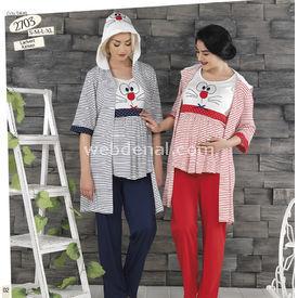 Haluk Baha Lohusa 3'lü Emzirme Pijama Takım Kırmızı M Gecelik & Pijama