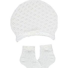 Bebetto S208 Bebek Soket Çorap Ve File Şapka Beyaz 0-6 Ay Erkek Bebek Çamaşırı