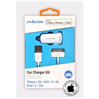 Mirax iPhone 4/4S araç şarj kiti, iPad&iPod uyumlu, Orijinal Apple Lisanslı Cep Telefonu Aksesuarı