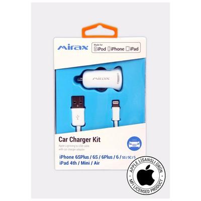 Mirax iPhone  6S/6SPlus/6/6Plus/5/5S/5C araç şarj kiti, iPad&iPod uyumlu, Orijinal Apple Lisanslı Şarj Cihazları