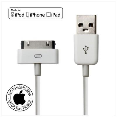 Mirax iPhone 4/4S şarj ve data transfer kablosu, iPad&iPod uyumlu, Orijinal Apple Lisanslı Dönüştürücü Kablo