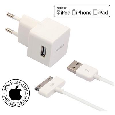 Mirax iPhone 4/4S duvar şarj kiti, iPad&iPod uyumlu,Orijinal Apple Lisanslı
