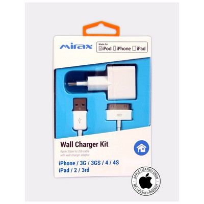 Mirax iPhone 4/4S duvar şarj kiti, iPad&iPod uyumlu,Orijinal Apple Lisanslı Şarj Cihazları