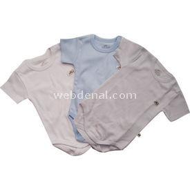 Minidamla Mini Damla 105 3lü Penye Yarım Kollu Bebek Body Krem-mavi 6-9 Ay (68-74 Cm) Erkek Bebek Body