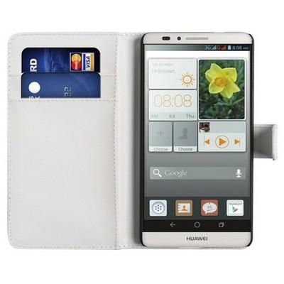 Microsonic Cüzdanlı Deri Huawei Ascend Mate 7 Kılıf Beyaz Cep Telefonu Kılıfı