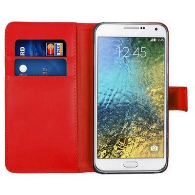 Microsonic Cüzdanlı Deri Samsung Galaxy E7 Kılıf Kırmızı Cep Telefonu Kılıfı