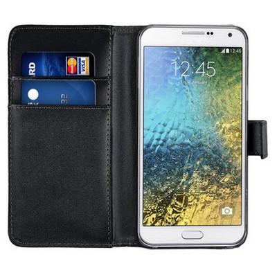 Microsonic Cüzdanlı Deri Samsung Galaxy E7 Kılıf Siyah Cep Telefonu Kılıfı