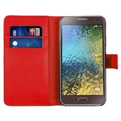 Microsonic Cüzdanlı Deri Samsung Galaxy E5 Kılıf Kırmızı Cep Telefonu Kılıfı