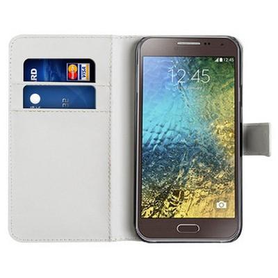 Microsonic Cüzdanlı Deri Samsung Galaxy E5 Kılıf Beyaz Cep Telefonu Kılıfı