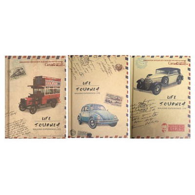 Vintage Label Classic Car Sert Kapak Not Defteri 1269