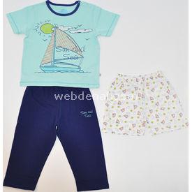 Aziz Bebe 9214 3lü Bebek Pijama Takımı Yeşil-lacivert 2 Yaş (92 Cm) Erkek Bebek Pijaması