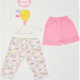 Aziz Bebe 9209 3lü Bebek Pijama Takımı Ekru 6-9 Ay (68-74 Cm) Kız Bebek Pijaması