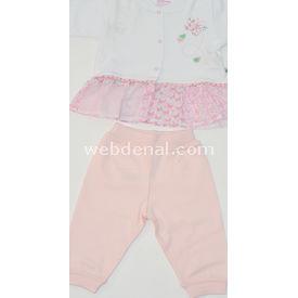 Aziz Bebe 2526 2li Bebek Takımı Beyaz-pembe 9-12 Ay (74-80 Cm) Kız Bebek Takım