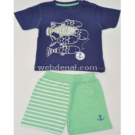 Aziz Bebe 2487 2li Bebek Takımı Lacivert-yeşil 12-18 Ay (80-86 Cm) Erkek Bebek Takım