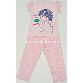 Aziz Bebe 9210 Pijama Takımı Pembe 5 Yaş (110 Cm) Kız Bebek Pijaması